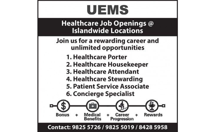 Healthcare Job Openings @ Islandwide Locations
