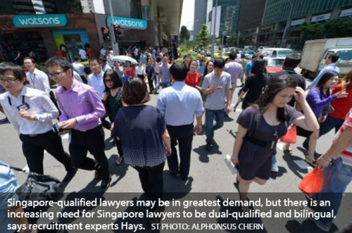 Growing demand for dual-qualified, bilingual Singapore lawyers: Hays